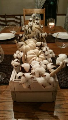 Cotton stems, deer sheds, and white pumpkins in a whitewashed box. Thanksgiving Table Settings, Thanksgiving Decorations, Fall Crafts, Decor Crafts, Pumpkin Table Decorations, Shed Decor, Cotton Decor, Autumn Decorating, White Pumpkins