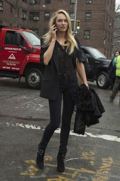 Candice Swanepoel Street Style Black Jeans and Top