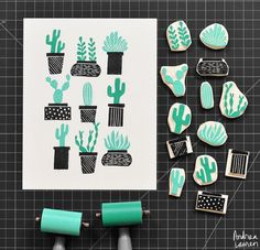 Tampons cactus / Cactus stamps by Andrea Lauren Stamp Printing, Printing On Fabric, Screen Printing, Handmade Stamps, Handmade Art, Eraser Stamp, Stamp Carving, Ideias Diy, Linocut Prints