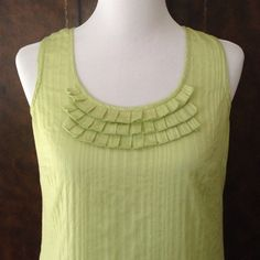 GAP Ruffle Front Top Lovely Light Green Cotton Sleeveless Top. Tonal Stripe Pattern in Fabric.  Scallop Detail Along Edges. Excellent Used Condition. Size Medium. GAP Tops Tank Tops