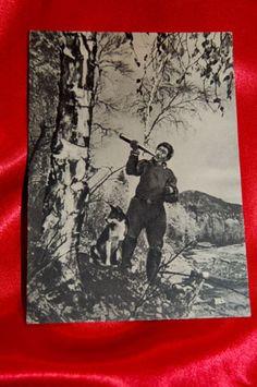 Old Postcard Man w Horn Woods Russian KARELIAN Bear Dog   eBay