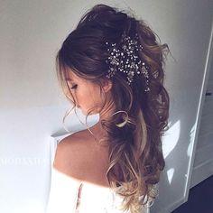 StayGlam saved to StayGlam WeddingMessy Half Updo + Big Hair Accessory #weddings #weddinghairstyleswithbraidsboho #weddinghairstyleslonghair