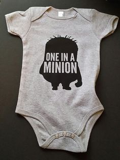 one in a minion unisex Baby onesie clothing by Tomorrowsunknown, $15.00
