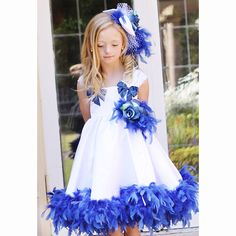 Girls Royal & White Couture Feather Dress