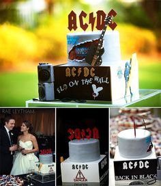 We loved this wedding! The best AC/DC groom's cake you will ever see! {Confections on the Coast} Image by Rae Leytham Photography