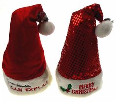 Lot 2 Santa Hats Adult Merry Christmas I Can Explain Plush Sequins Holiday Party #Novelty
