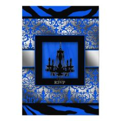 DealsElegant Wedding RSVP Chandelier Zebra Blue Personalized Announcementsso please read the important details before your purchasing anyway here is the best buy