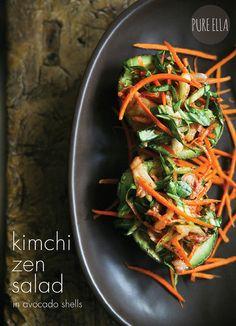 Kimchi Zen Salad in Avocado Shells: spicy,  yet slightly sweet and tangy (raw, vegan).