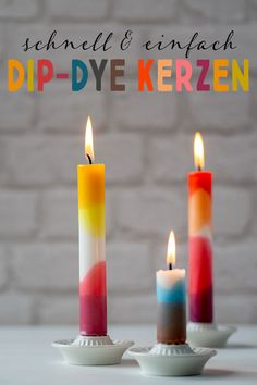 Upcycling DIY: Kunterbunte Dip-Dye-Kerzen Diy For Kids, Crafts For Kids, Diys, Dip Dye, Candle Art, Xmas Presents, Diy Candles, Diy Projects To Try, Candle Making