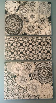 Images Crochet Doilies repurpose Popular New Images Crochet Doilies repurpose Popular Doily Art Wall Hanging Snowy Night Vintage Doilies Crafts, Lace Doilies, Crochet Doilies, Fabric Crafts, Sewing Crafts, Diy Crochet, Vintage Wall Art, Vintage Walls, Doily Art