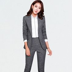 Women's Pant and Blazer Suit Simple Long Slim for Business – omymarts Trouser Suits, Trousers, Blazers, Pantsuits For Women, Pants For Women, Clothes For Women, Black Suits, Business Attire, Suit Fashion