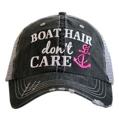 Hat { Boat hair don't care } Teal or pink anchor