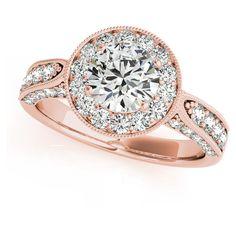 Allurez Vintage Milgrain Round Diamond Engagement Ring 14k Rose Gold... ($5,600) ❤ liked on Polyvore featuring jewelry, rings, 14k rose gold ring, vintage rings, diamond accent rings, pave ring and 14k ring