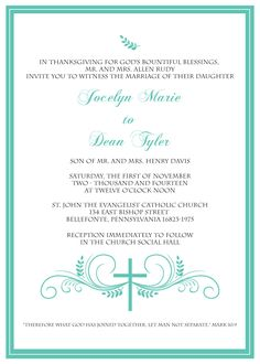 Wedding Invitation Wording Samples Christian christian wedding