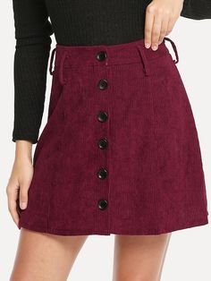 Casual A Line Plain Mid Waist Burgundy Above Knee/Short Length Single Breasted Cord Skirt Skirt Outfits, Cute Outfits, Look Formal, Lara Jean, Suede Mini Skirt, Gaines, Corduroy Skirt, A Line Skirts, Fashion News