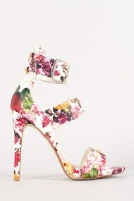 Anne Michelle Floral Triple Strap Open Toe Heel