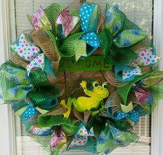 Spring Wreath Summer Wreath Frog Wreath Welcome by WreathsByRobyn