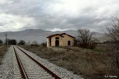 Agios Pandeleimonas railway station near Amyndaio village Florina town Macedonia Old Trains, Going Away, Macedonia, Old Photos, Railroad Tracks, Greece, To Go, Cabin, House Styles