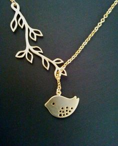 branch necklace Bird Necklace Lariat Necklace 14k by LaLaCrystal Love this so much!