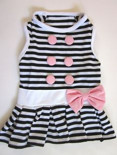 Black and White B&W Striped Dog Cloth Dress Blouse XS Small, Medium (USA seller) #YoYo