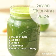 Green Cleansing Juice Start your day with a brand new energy with this amazing juice recipe. You'll surely love this just like I do! #kale #apple #lemon #cucumber