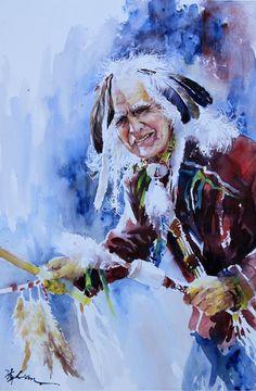 LandsWc  Lian Quan Zhen Watercolor Artists, Watercolor Portraits, Artist Names, Art Tips, Watercolours, Nativity, Native American, Zen, Dancing
