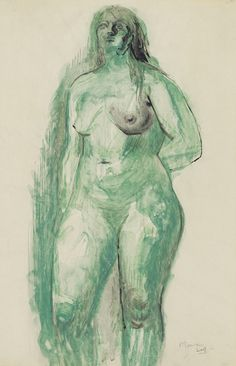 Henry Moore. Standing Figure. Watercolor, black ink and gray wash on paper.