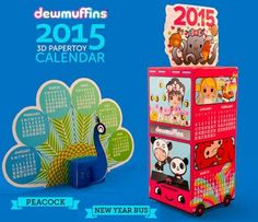 2015`s New Year Bus And Peacock Kawaii Calendars Paper Models - by Dewmuffins - == -  More two beautiful papercraft calendars for 2015 in Kawaii style, this time offered by Dewmuffins website.