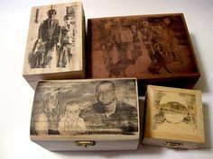 Old cigar boxes = Photo Boxes Photo Projects, Diy Projects To Try, Craft Projects, Wood Crafts, Fun Crafts, Arts And Crafts, Photo Craft, Diy Photo, Wood Photo