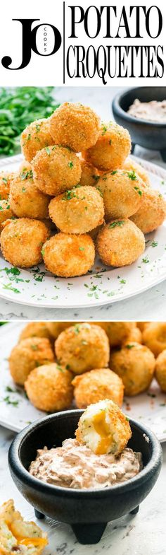 These Potato Croquettes are loaded with bacon, stuffed with two kinds of cheese, crispy on the outside, soft on the inside and sure to please everyone. #potatoes #croquettes #potatocroquettes via @jocooks