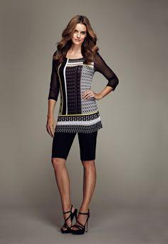 Sunshine top and black bermuda #black #bermudas #prints #patterns #miamimagic #spring #tribalsportswear #fashion
