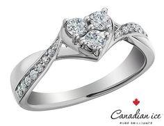 Diamond+Heart+Engagement+Ring+2/5+Carat+(ctw)+in+10K+White+Gold
