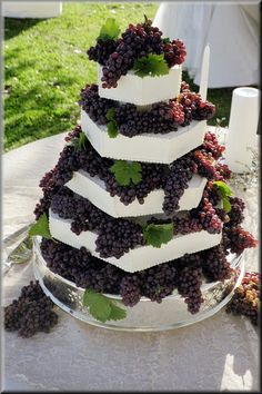 Beautiful Layered cake with fresh Grapes =]