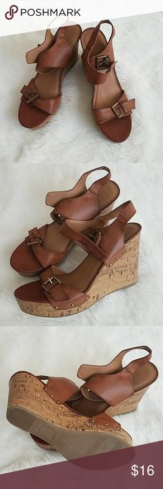 Brown camel leather wedges Brown camel leather wedges worn once Mossimo Supply Co. Shoes Wedges