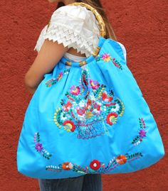Huipil  Skye tote with a Bamboo Handle by CasaOtomi on Etsy, $138.00