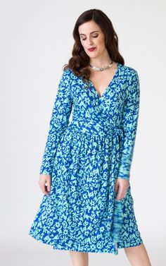 This true wrap dress is ultra-flattering. The ruched skirts overlap generously to keep you covered while walking in the wind or twirling on the dance floor. Long sleeves. Ampleside-seam pockets. The pima cotton plant has extra-long cotton fibers, which creates softer, more durable fabric. This dress will not only