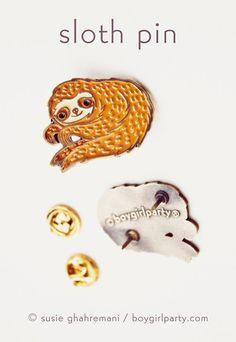 Enamel Sloth Pin by Susie Ghahremani / boygirlparty ® http://shop.boygirlparty.com/products/sloth-pin-enamel-sloth-enamel-pin-by-boygirlparty?variant=19967148871