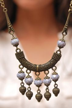 Unique boho necklace with blue marble coating glass beads. Perfect Christmas gift for here. The length is about 17 inches (44 cm) * Shipped priority and number tracking *** COUPON CODES *** * 10% OFF on Orders are 40€ (50$, 35£ etc.) and over (Coupon Code: ESTIBELA10) * 15% OFF on Orders