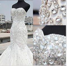 2015 Luxury Crystal Sweetheart Rhinestone Bridal Gown Mermaid Wedding Dresses
