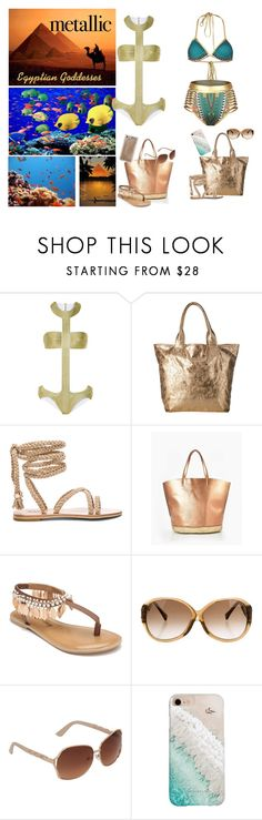 """""""You're Golden: Metallic Swimwear - Egyptian Goddesses"""" by selene-cinzia ❤ liked on Polyvore featuring La Perla, Seafolly, Penny Loves Kenny, Louis Vuitton, Gray Malin, Agent 18 and metallicswimwear"""