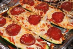 Zuchinni Pepperoni Pizza, 1 weight watchers pointsplus, 50 calories - just replace the crust with an oven roasted zucchini... wonder if using vegan cheese and pepperoni would make much difference in points values.
