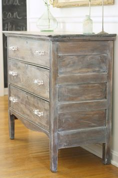 Learn how to easily create the washed restoration hardware look with this simple tutorial. Cherry Furniture, White Washed Furniture, Bedroom Furniture Makeover, Paint Furniture, Refinished Furniture, Furniture Refinishing, Kitchen Furniture, Furniture Ideas, Furniture Repair
