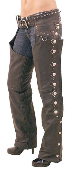 Naked Leather Western Chaps with Scallop Trim
