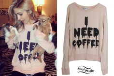 """Mindy White - Wildfox Couture """"I Need Coffee"""" sweater"""