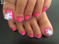 Manicure Pedicures 9 Sizzling Summer Pedicure Ideas - Page 3 of 3 The Trouble With Long Hair - Cushi Flower Toe Nails, Flower Nail Art, Hibiscus Nail Art, Pretty Toe Nails, Cute Toe Nails, Summer Toe Nails, Beach Nails, Summer Pedicures, Beach Pedicure