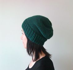 Knitting Patterns Chunky Hand Knitted Chunky Hat in Dark Green - Slouch Seamless Hat - Winter Hat - Wool Blend - Made to Orde. Chunky Knitting Patterns, Hand Knitting, Knitted Hats, Crochet Hats, Knit In The Round, Slouchy Hat, Winter Accessories, Women Accessories, Wool Yarn