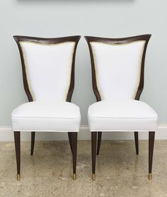 Set of Eight Italian Modern Palisander and Brass Dining Chairs, Osvaldo Borsani | From a unique collection of antique and modern dining room chairs at https://www.1stdibs.com/furniture/seating/dining-room-chairs/