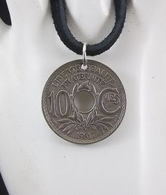 French Coin Necklace 10 Centimes Coin by AutumnWindsJewelry