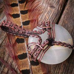 White agate donut pendant. Copper wire wrapped jewelry. Unique