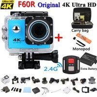 Wish | 4K WIFI Waterproof Action Camera With 2.4G Remote 2.0'' LCD Display Ultra HD 1080P 60fps Underwater Sports Camera Black Diving 30M 170 Degree Wide Angle Action Cam With 2PCS Battery for Biking, Racing, Skiing F60R